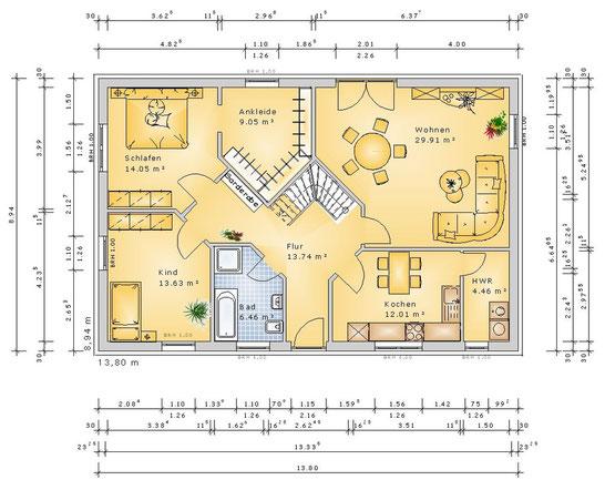 AH118 - mit bis zu 154 m² Wohnfläche. Inkl. Treppe. Anschlüsse im DG (klick vergrößern)