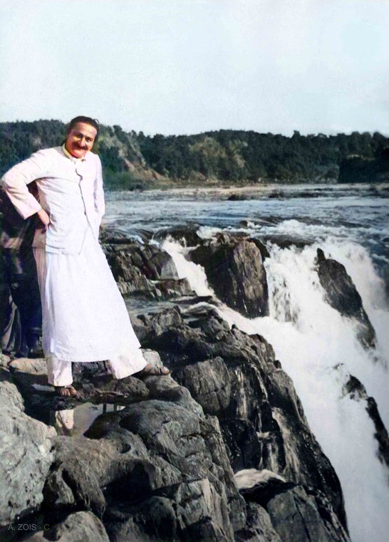 Meher Baba  at the Dhuandhar Falls or the Smoke Cascade at Marble Rocks, near Jabalpur, India - 24th Dec. 1938. Image colourization by Anthony Zois.