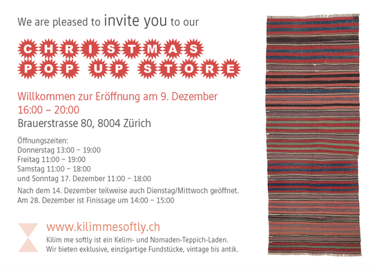 Einladung Pop up Store kilimmesoftly.ch, Dezember 17