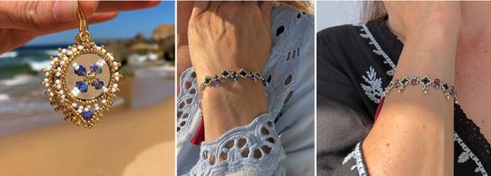 """Handgefertigte Perlen-Ohrringe und Armband """"Bindi"""""""