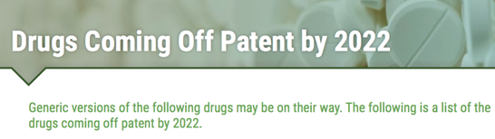 Drugs coming off patent by 2022 (Articles allow list download)