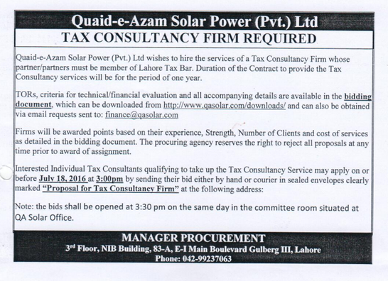 Tender Notice for hiring of Tax Consultancy Firm valid till 18th July 2016