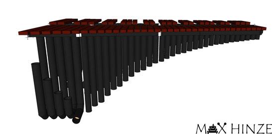 Klangplatten mit Resonatoren, hinten (Ganztöne), selbst gebautes Marimbaphon, DIY Marimba Max Hinze
