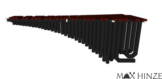 Klangplatten mit Resonatoren, vorne (Halbtöne), selbst gebautes Marimbaphon, DIY Marimba Max Hinze