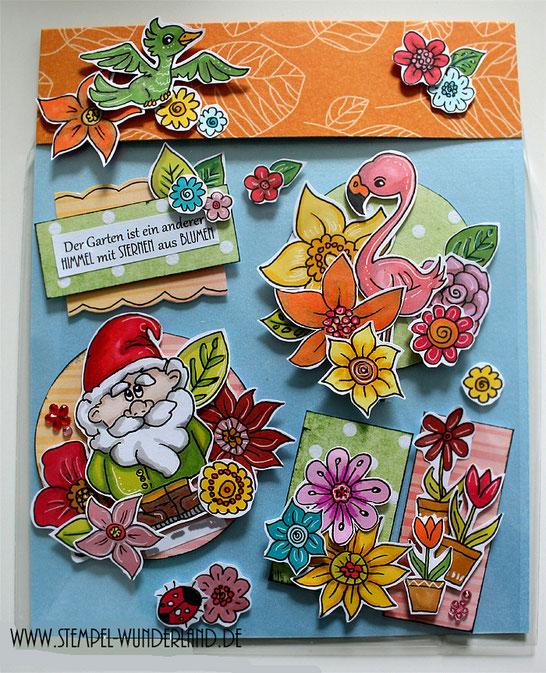 Card Candy Embellishments Digi Stamps Digitale Stempel online kaufen Gartenzwerg Blume im Topd Zwerg Vogel Flamingo von www.stempel-wunderland.de