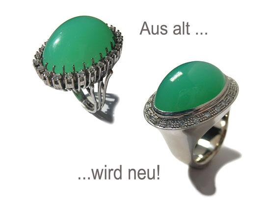 """Aus einem schönen """"altmodischen"""" Chrysopras Ring wurde ein schöner moderner Chysopras Ring"""
