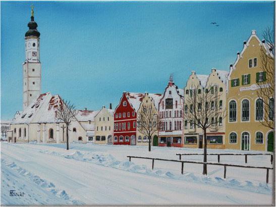 Nr. 114b Dorfen, Marktkirche,altes Postamt und alte Sparkasse im Winter