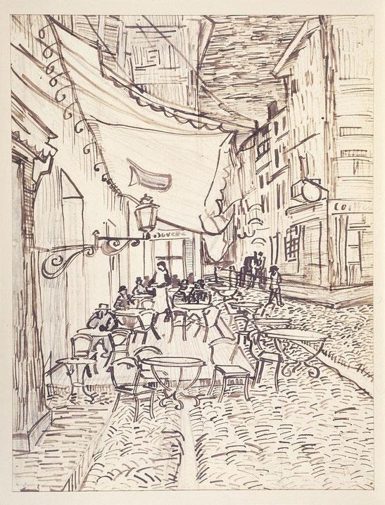 「夜のカフェテラス」の習作画。