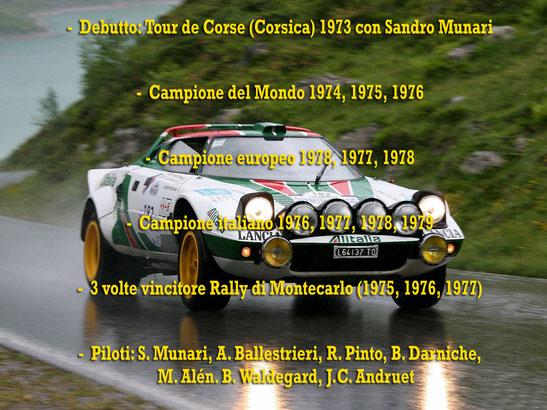 lancia stratos alitalia campione del mondo world rally champion 1974 1975 1976 palmares