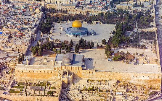 世界遺産「エルサレムの旧市街とその城壁群(ヨルダン申請)」、神殿の丘の岩のドーム、アル・アクサ・モスク