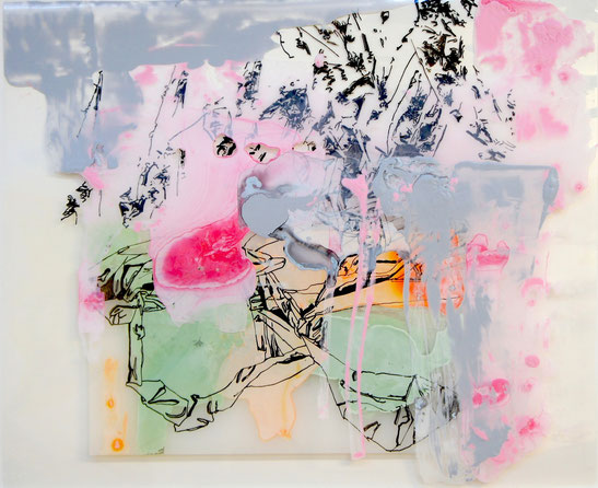 © Joana Fischer, untitled, 2014, ink and acrylic on clear film and plexiglas, 9 x 12 inches, private collection