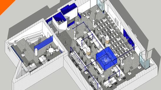 Render 3D para coworkings en Madrid y Denia, Alicante. Freeland y Wannaone