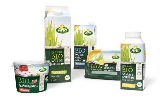 Arla - Bio Sortiment - Bio Quarkgenuss - Bio Weidemilch - Bio Weidemilch haltbar - Bio Streichzart - Bio Schlagsahne - DesignKis  - Packaging - Design - 2013 - Verpackung