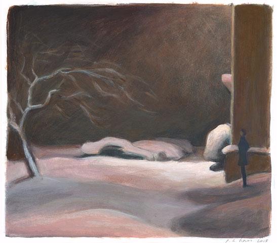 philipp christoph haas: studie zur serie 'nachtRaeume', akryl auf papier, 29x33cm, 2015