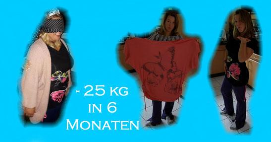 Meine Tochter Mandy 3 x - mit 25 kg Übergewicht, mit T-Shirt in Übergröße, mit Shirt von damals mit 25 kg mehr