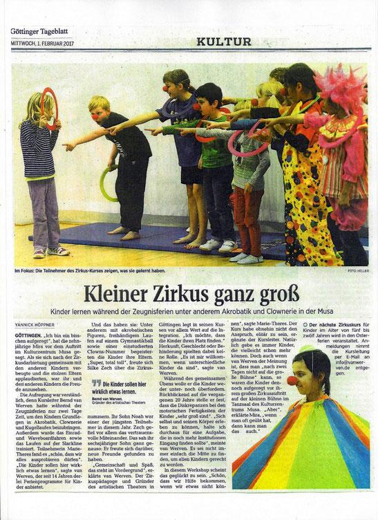 Kleiner Zirkus ganz groß / in: Göttinger Tageblatt 2017