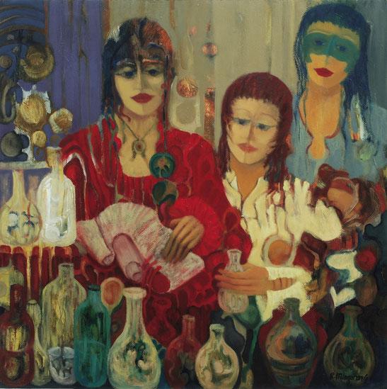 En el lugar del anciano y ausente perfumero - 90 x 90 cm - óleo/Dmp - Guillermo R. Mingorance