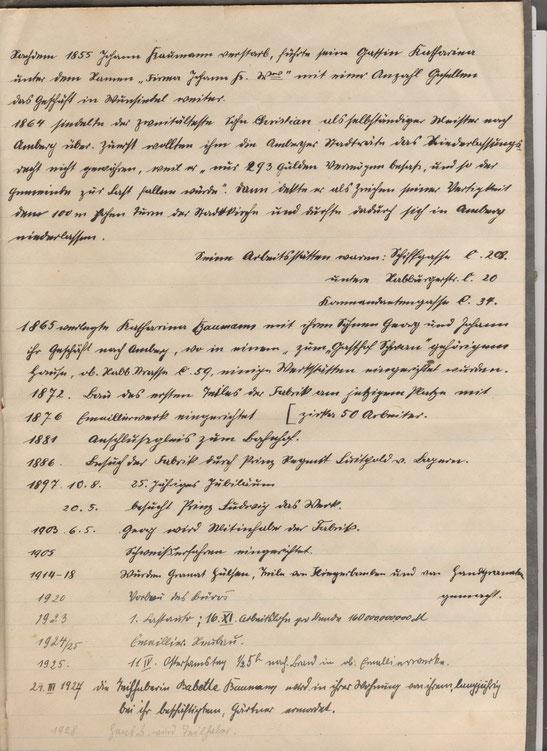 """Abschriften in einem kleinen Büchlein mit Überschrift: """"Geschichte der Firma 1925"""""""