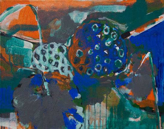 Malerei bunt abstrahiert Lotusblumen