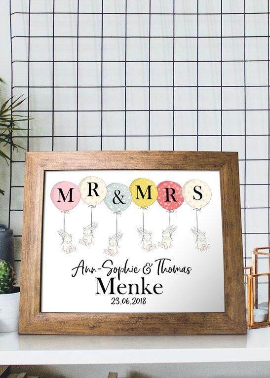 Wohnideen Wanddeko Druck Mr. & Mrs. Hochzeitsdruck mit Hasen