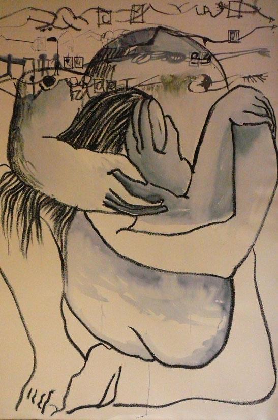 Umarmung , 1992 (Kreide, Aquarell, 100 x 65 cm)