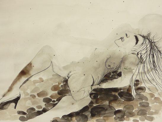 Liegende ,2007 (Federzeichnung, Aquarell auf Papier, 20 x 30 cm)