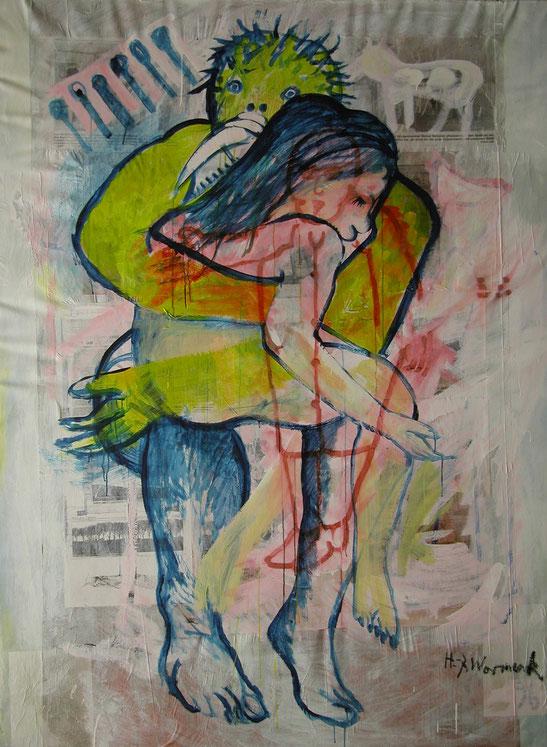 Titanenliebe 1996 (Öl auf Papier/Leinwand, 200 x 150 cm)