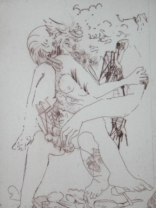 Pannonische Liebessturm 1992 (Radierung, 30 x 22 cm)