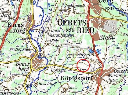 Das Weidfilz befindet sich ca. 500 m westlich der Ortschaft Königsdorf an der Staatsstraße 2064 (Quelle: ATKIS® DTK200-V, © Bundesamt für Kartographie und Geodäsie 2003)