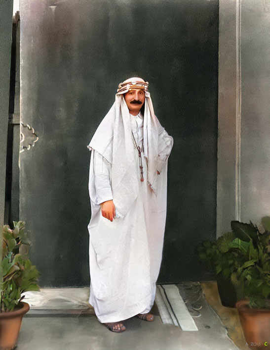 1936 : Meher Baba wearing  Arabian clothing brought back by the Jaffers from their trip to Mecca, being photographed in a studio in Nasik, India. Image  Colourization by Anthony Zois.
