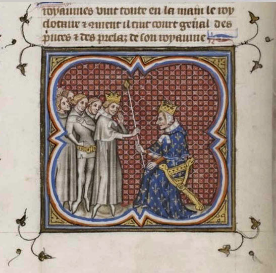 Gunthram und Childebert, Grandes Chroniques de France, 14. Jh., Gallica Digital Library