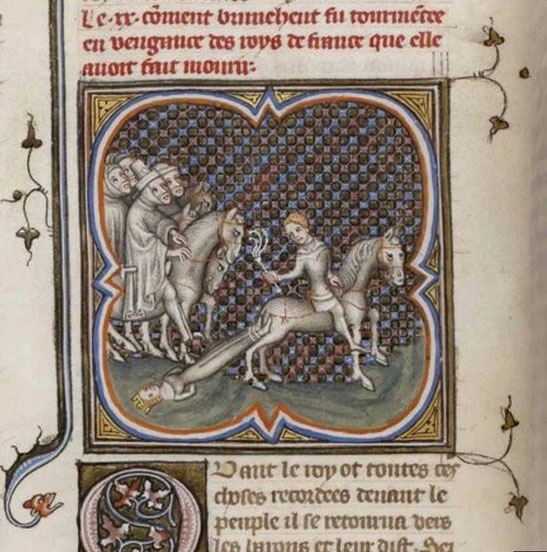 Brunichilde wird zu Tode geschleift. Grandes Chroniques de France, 14. Jh., Gallica Digital Library