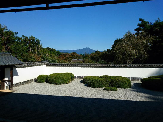 Shoden-ji Temple simple dry garden with fantastic borrowed scenery (a view of Mt Hiei)