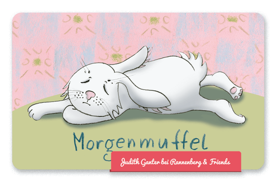 Mitbringsel Frühstück, Frühstücksbrettchen - Hase müde - Morgenmuffel - Judith Ganter Illustration und Spruch - bei Rannenberg & Friends