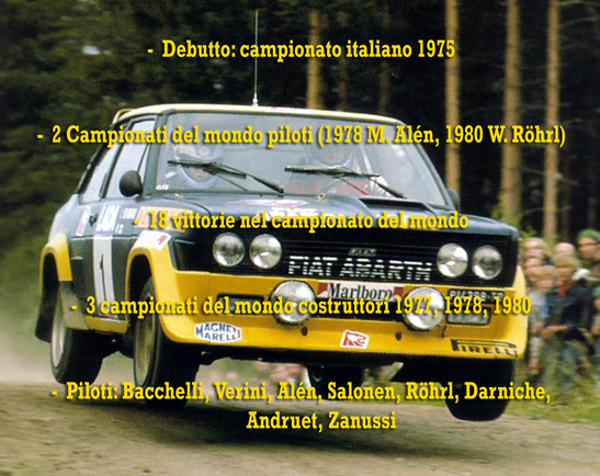 fiat 131 abarth alitalia campione del mondo world rally champion palmares