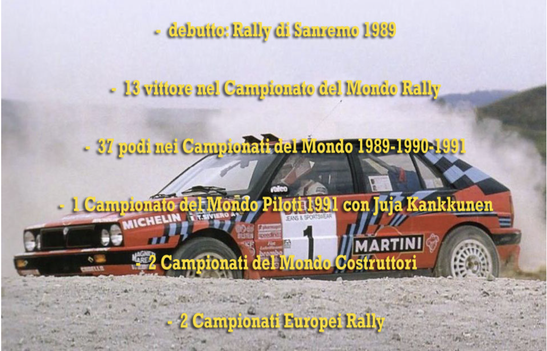 lancia delta rossa 16v intergrale sanremo 1989 biasion campione del mondo world rally champion palmares