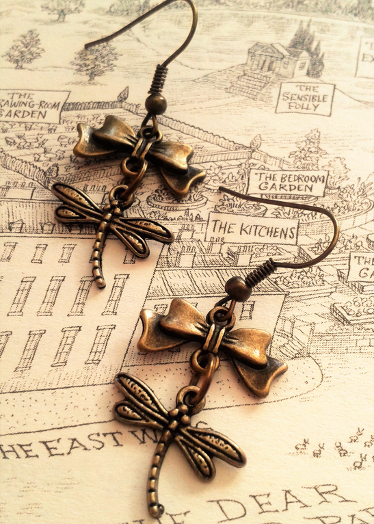 Steampunk Dragonfly Earrings with Bronze Bows