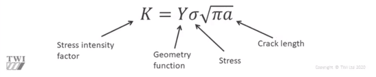 Belastungsintensitätsfaktor ist gleich Geometriefunktion mal Spannung mal Wurzel aus (Pi mal Risslänge)