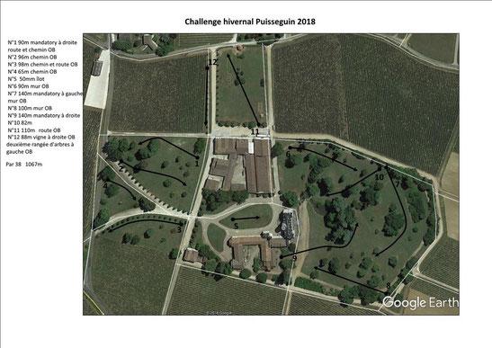 Plan du parcours du Challenge hivernal 2019 (identique au 2018)