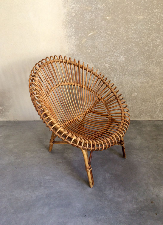 fauteuil coquille, fauteuil rotin, fauteuil vintage