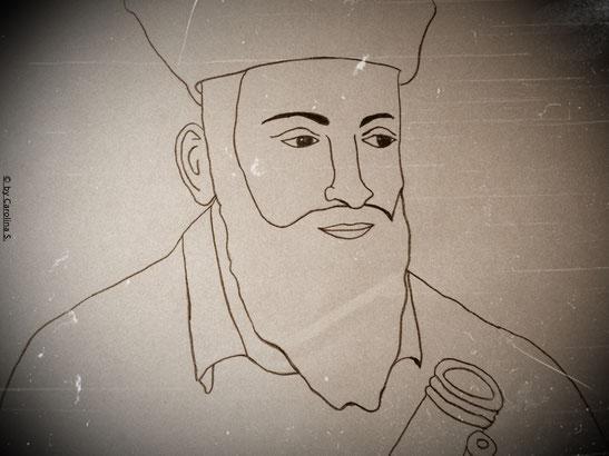 [Skizziert] Ein sehr bekanntes Portrait von Nostradamus. Das Gerät in seiner Hand, soll in seiner Zeit noch gar nicht existiert haben. Er sah es in eine seiner Visionen und es gefiel ihm so sehr, dass er sich damit porträtieren ließ.