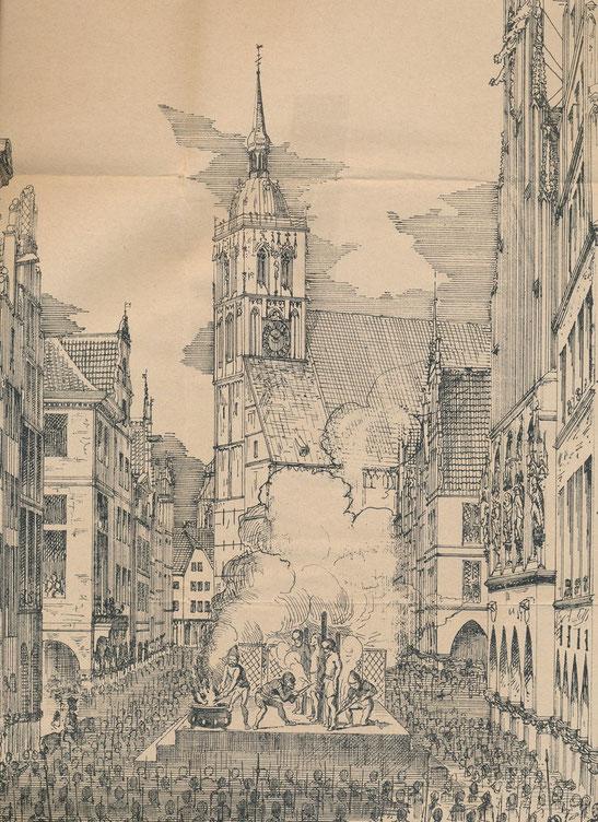 Hinrichtungsszene aus ,Geschichte der Wiedertäufer' 1881