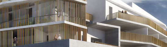 2016 - 71 logements sociaux à  Six-fours les plages (83) -  Mandataire: entreprise F. Fondeville - Y. Fuschino, F. Giraud & D. Deluy architectes MO: Var Habitat - Surface: 5 490 m² SDP  - Budget: 7 882 K€ HT