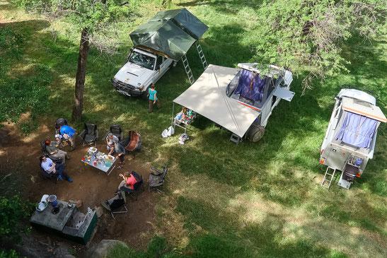 Unsere mobiles Campsetting von oben