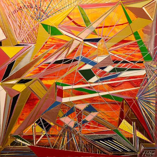 Orange sowie gelbliche Farbtöne dominieren den Hintergrund. Farben sowie Formgebung der Bildelemente, verweisen eindeutige auf Andreas Alka`s gestalterische Handschrift.