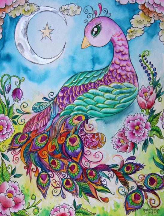 aquarellmalerei, angelina petersen, art confused, märchenhaft, märchenbilder, pfau, peacock, kindermärchen, berlin kunst, künstlerin berlin, art berlin