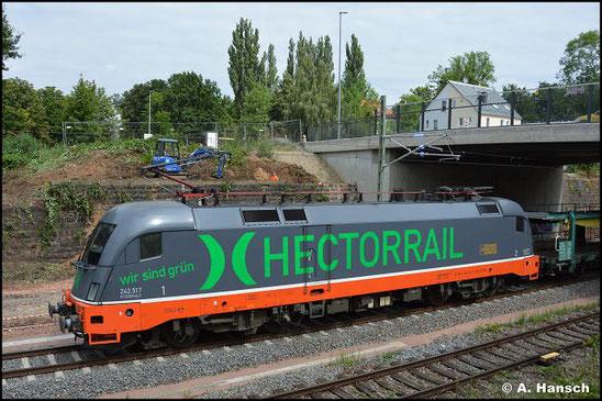 """Am 22. Juli 2021 überrascht mich 182 517-3 (Hectorrail 242.517 """"Fitzgerald"""") mit Autoleerzug in Chemnitz-Süd gen Zwickau fahrend"""