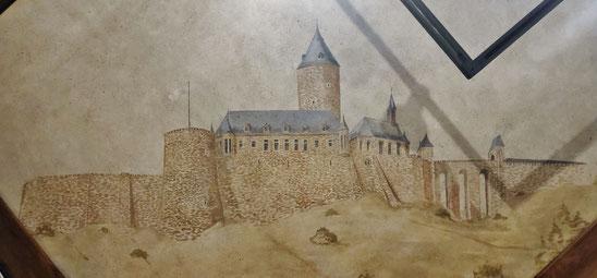 Abb. 6: Burg Blankenberg in einer Deckenmalerei im Turmmuseum