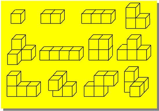 Le dodici forme diverse costruite con 1, 2, 3 o 4 cubetti aventi almeno una faccia in comune