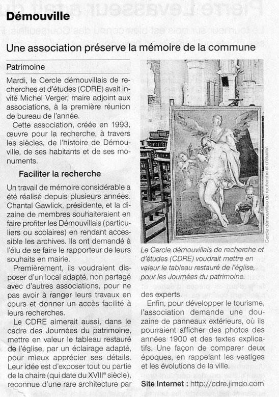 Article paru dans Ouest France le 13 janvier 2017